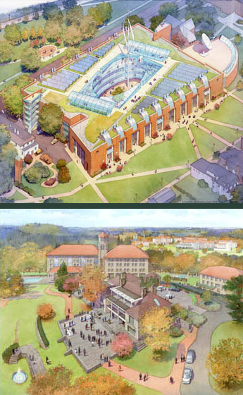 Architectural rendering and illustration. Aerial views of engineering and administrative college buildings