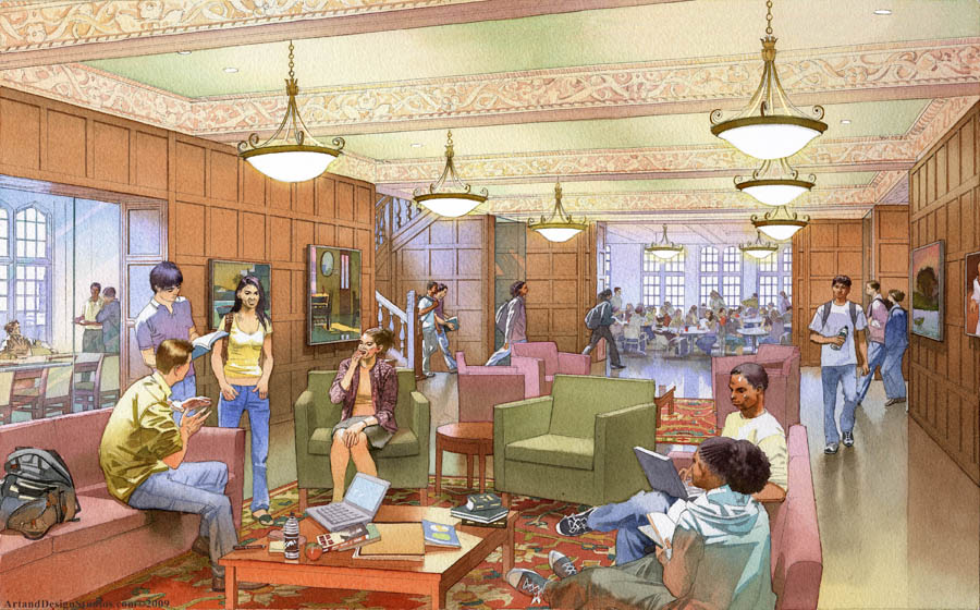 Architectural rendering and illustration. UPENN. Arch Hall student lounge room