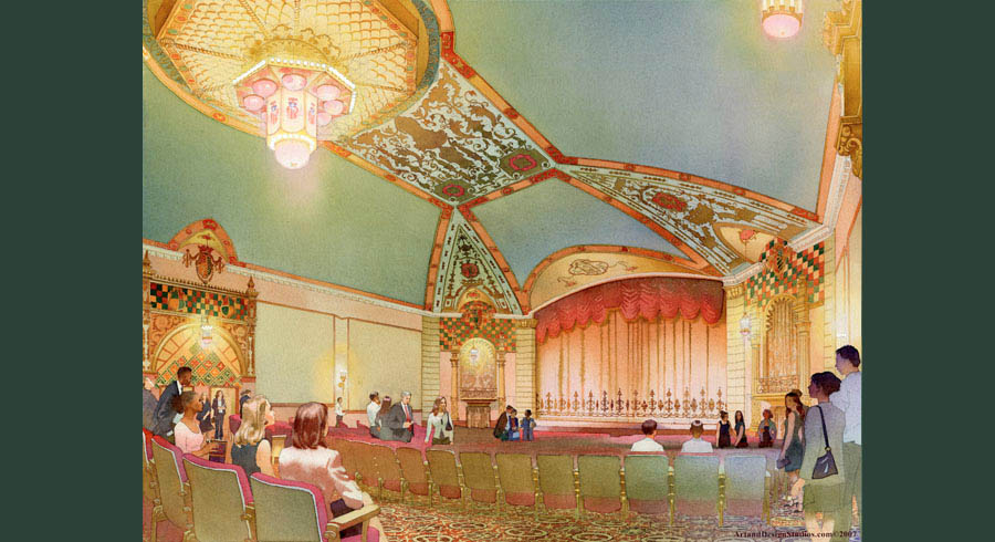 illustrations & renderings portfolio of preservation & adaptive reuse of historic architecture & interiors. Gettisburg. Majestic historic theater interior illustration.