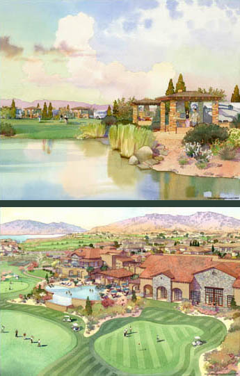Architectural rendering of golf course and clubhouse in Havasu City, Arizona. Watercolor