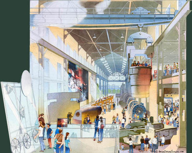 Architectural rendering and illustration of museum spaces. National Steel Museum. Linked to portfolio of renderings and illustrations for Connecticut Science Center, The Franklin Institute, Da Vinci Science Center, Delaware Children's Museum, UPENN Museum of archaeology & Anthropology, Nevada Discovery Museum, The Philadelphia Art Museum, Please Touch Museum & others.