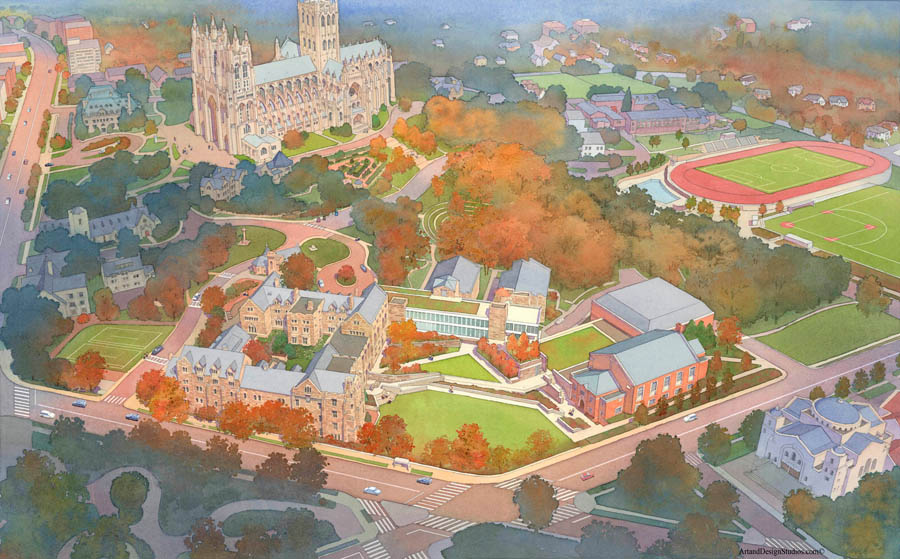 Architectural rendering and illustration. St. Albans School, National Cathedral. Washington, DC.