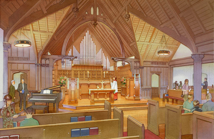 Architectural rendering and illustration of churches, mosques and other spaces for spirituality & worship.