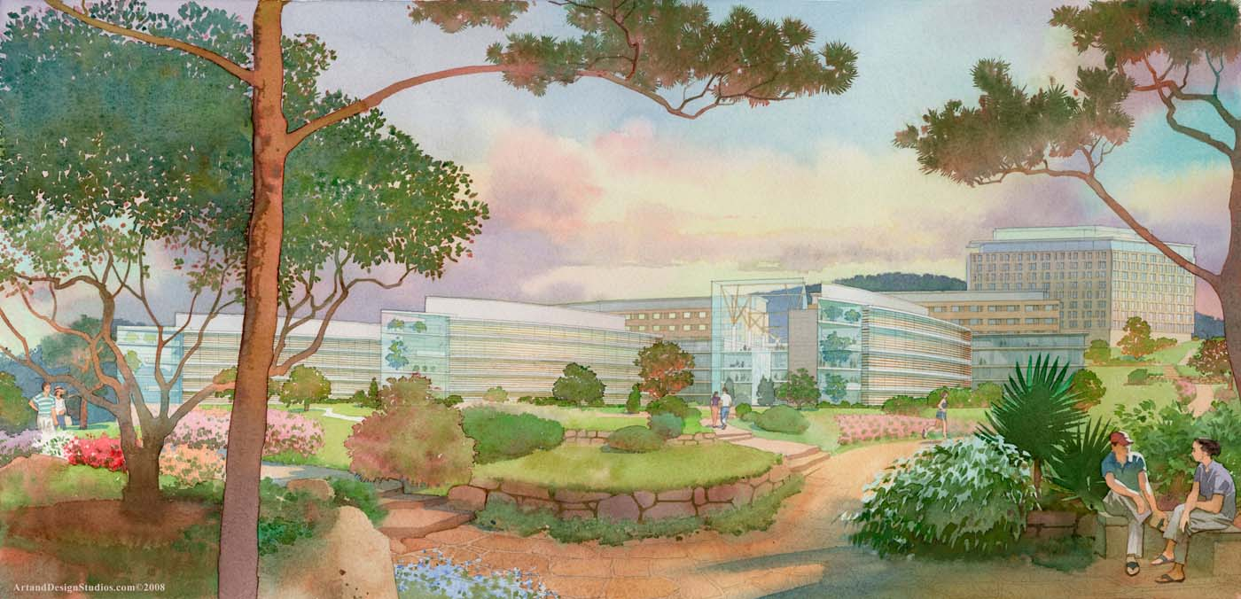 Illustration international medical center garden landscape