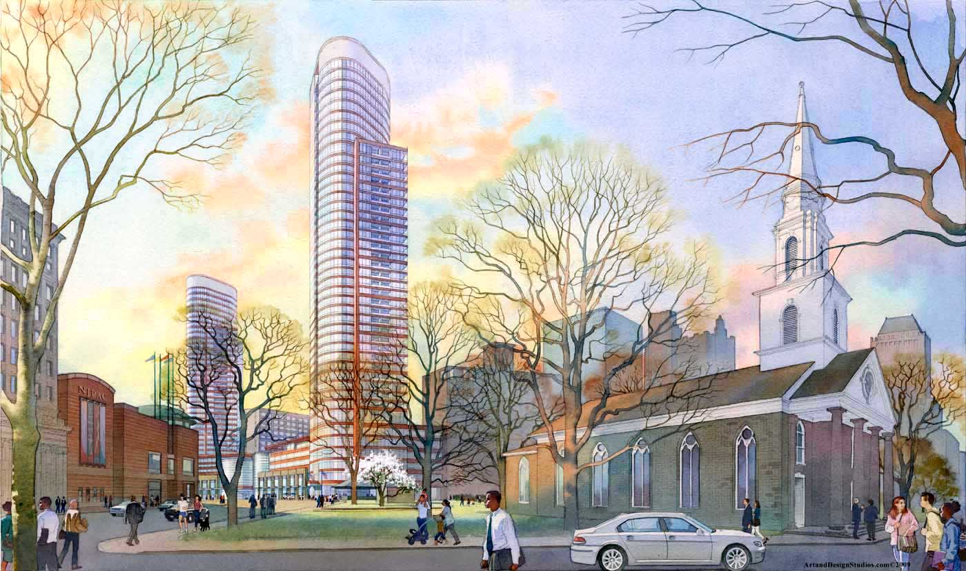 architectural rendering in watercolor - NJPAC, skyscrapesr