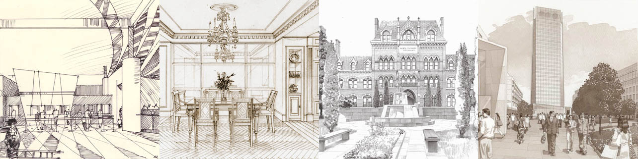 architectural illustration, in black abd white, sketches, drawings, ink wash, sepia for interior designers, artchitects and landscape architects