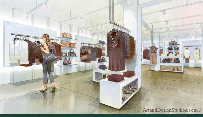 Architectural rendering and illustration. Rendering of fashion boutique store. Mercandising illustration. NY. Searle.