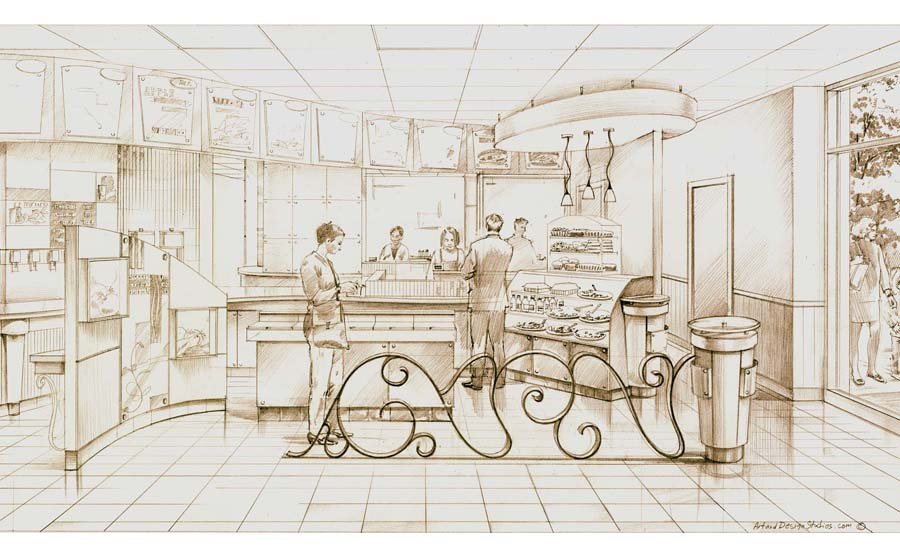 architectural hand rendering, illustration visualisation. Pencil drawing. Retail restaurant