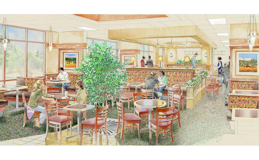 architectural hand rendering, illustration visualisation. Color pencil drawing. Retail restaurant