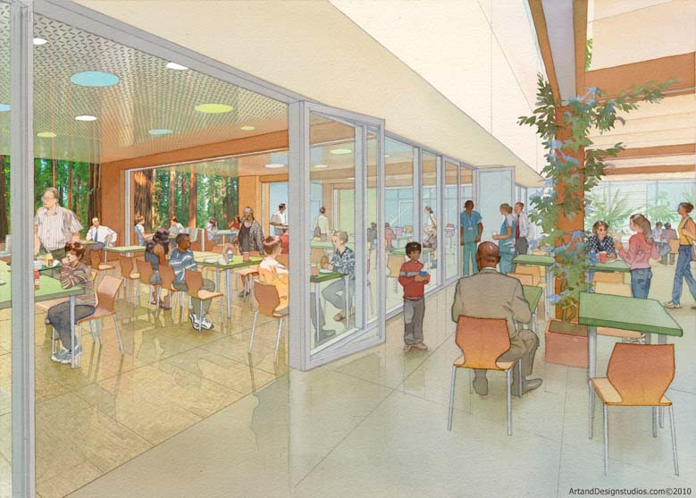 architectural hand rendering, illustration visualisation in watercolor tecnique, Lucile Packard Childrens Hospital restaurant
