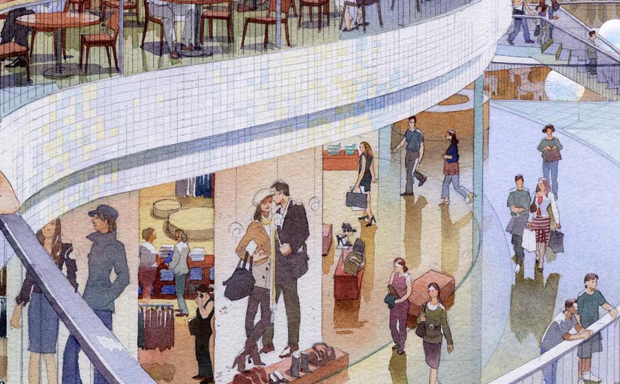 Retail rendering, illustration visualisation in watercolor tecnique, Ocean Park shopping mall. Detail