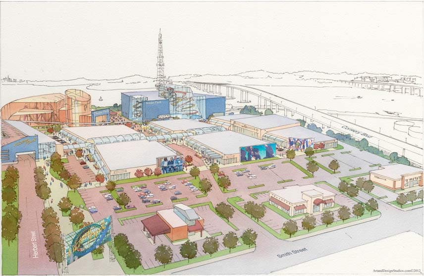Architectural hand rendering, illustration visualisation. Shopping mall / entertainment park conceptual rendering
