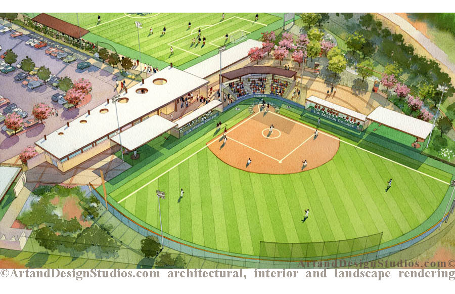 School/college campus. Softball field with proposed landscape. Landscape architecture rendering.