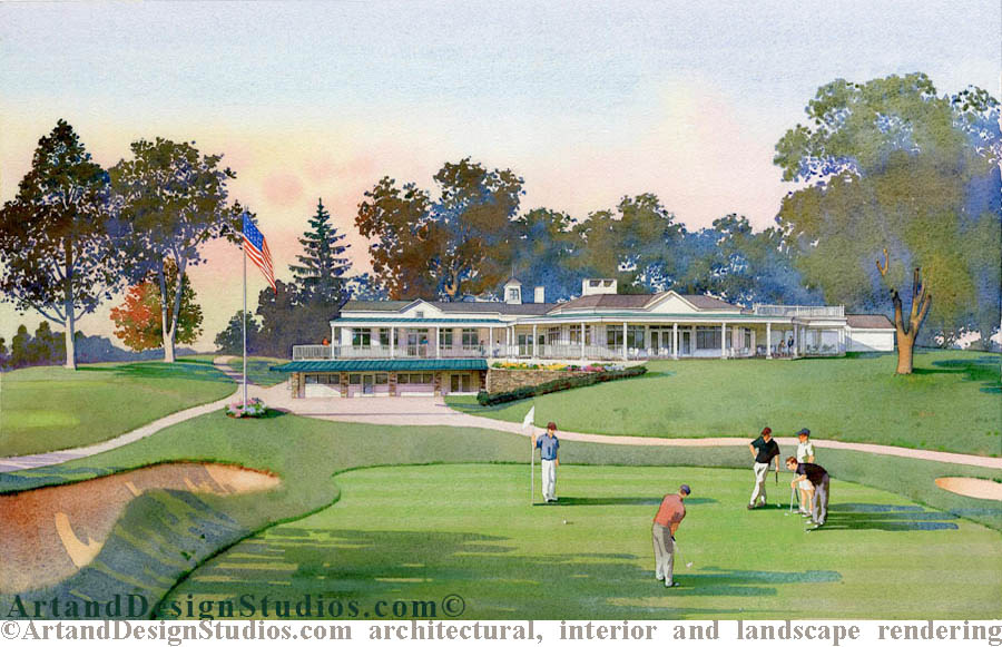 golf cource rendering. Landscape architectural illustration.