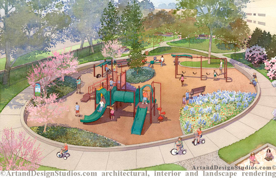 Playground rendering. Landscape architectural illustration.