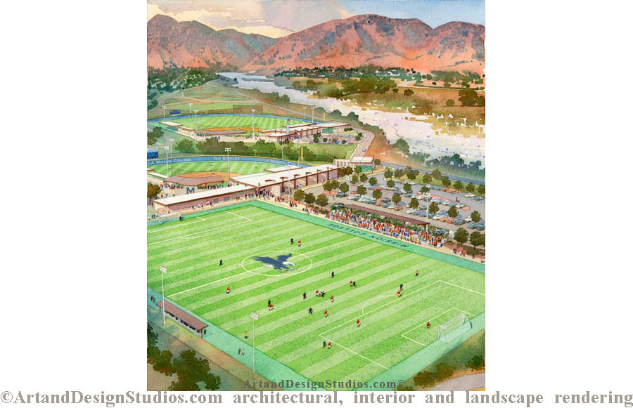 School/college campus. Football, soccer sports field. Architectural rendering.