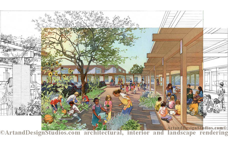 School garden rendering. Landscape architectural illustration.