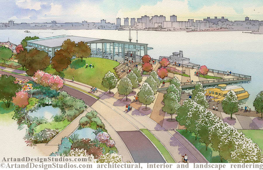 Landscape rendering. New York waterfront park. Landscape architerture rendering