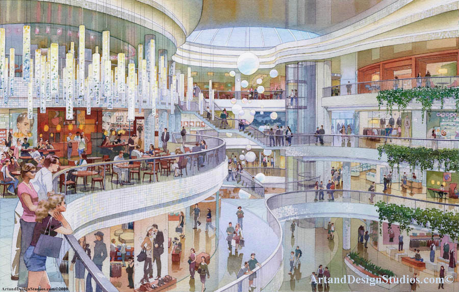 architectural rendering shopping mall. Mall atrium rendering architectural illustration and visualization. Theme park and retail store architectural illustration. Boutique stores and mall food court rendering, architectural illustration and visualization. Theamed Architecture illustration.