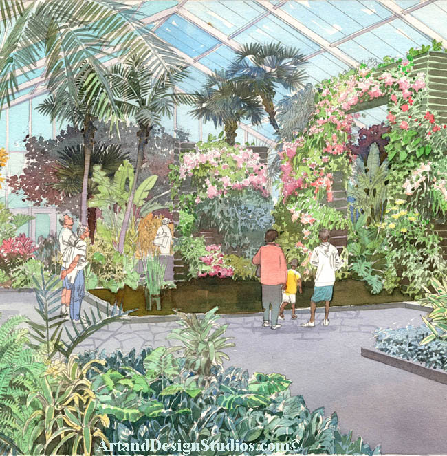 botanical gardens rendering< architectural illustration, visualization, conservatory rendering, architectural illustration, visualization; butterfly conservatory rendering, architectural illustration, artist's rendering, visualization