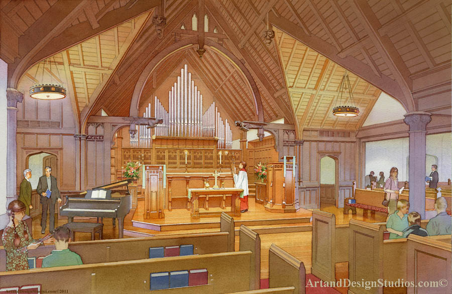 Church interior rendering, vusualization and architectural illustration. Sanctuary rendering, architectural illustration and visualization. Ecclesiastical architecture rendering, architectural illustration and visualization. Historic architecture rendering