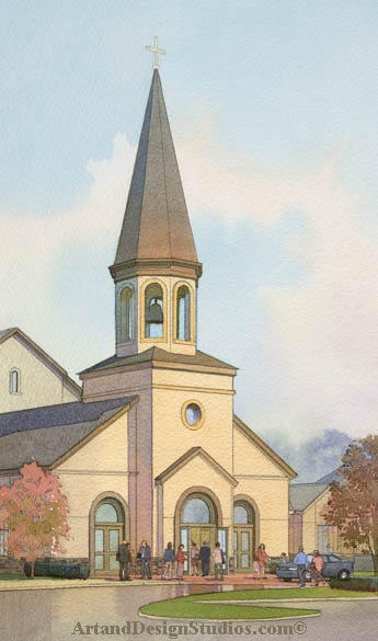 church rendering; architectural illustration visualization; church exetrior artists rendering; ecclesiastical architecture rendering architectral illustration visualization. Saint Joseph�s Roman Catholic Church rendering fragment.