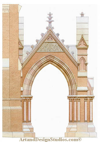 illustrations & renderings portfolio of preservation & adaptive reuse of historic architecture & interiors. St. Paul's School delineated detail.