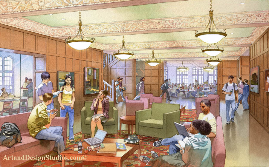 college_university_boarding_school_interior_rendering_architectural_illustration_visualization_student_lounge_ student_center_campus_club_rendering_architectural_illustration_3D_visialization