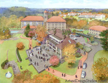 college_univesity_aerial_rendering_master_plan_rendering_architectural_illustration_college_university_school_campus_rendering_college_university_bird's_eye_view_rendering_architectural_illustration