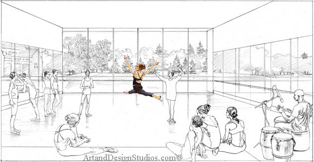 Dance studio_rendering architectural illustration visualization. Ballet studio rendering architectural illustration. Ballet practice class rendering. Drawing.