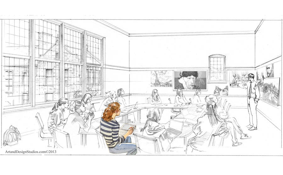 architectural rendering, school harkness classroom illustration
