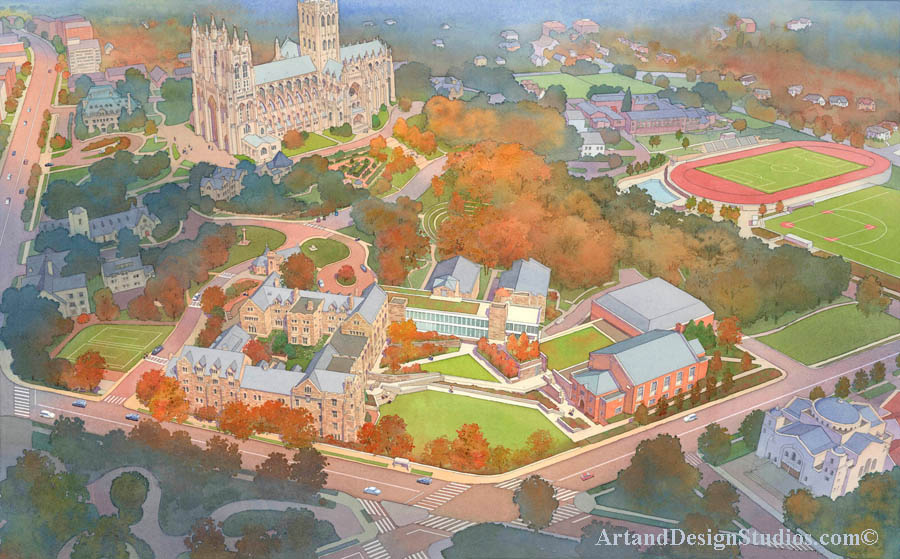 Architectural rendering and architectural illustration of master plan. College, university, school campus rendering. St_Albans School and National Cathedral in Washington DC aerial rendering. Historical and traditional architecture redering.  Likned to portfolio of school, college and university interior and exterior renderings, architectural illustrations and visualizations.