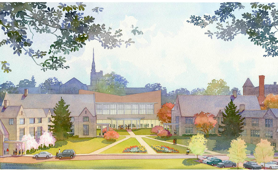 architectural rendering, school campus rendering