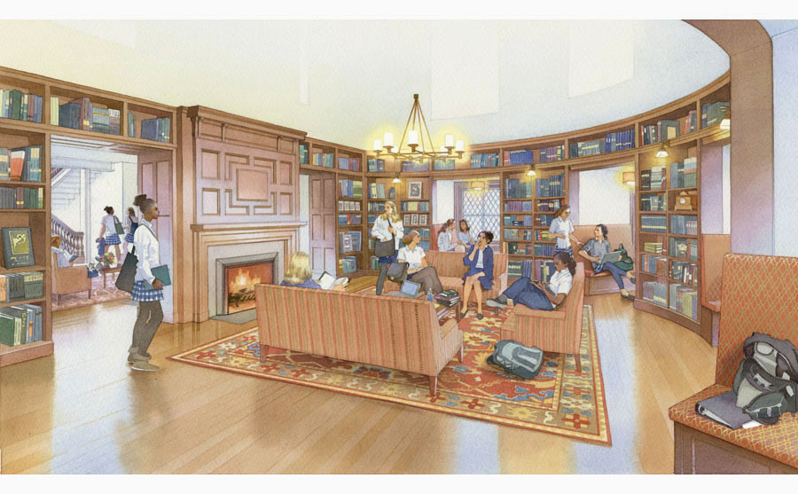 architectural rendering, school library