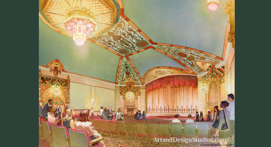 Performing arts center. Theater and concert hall rendering, visualization and architectural illustration. Historic and traditional architecture rendering. linked to archuectural illustration & rendering portfolio of preservation & adaptive reuse of historic architecture & interiors.