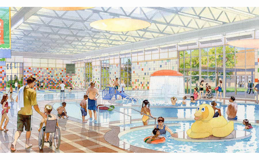 architectural rendering, school pool rendering