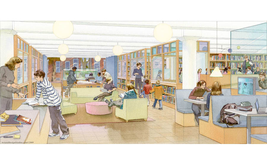 architectural rendering, school library rendering