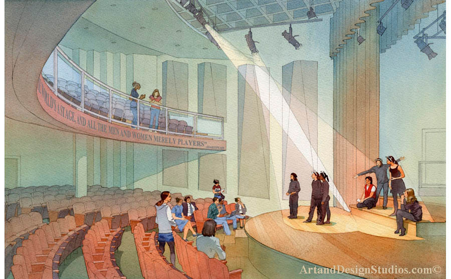 architectural rendering, school theater rendering